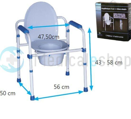 Image of 3 funkciós, állítható magasságú, összecsukható szoba WC