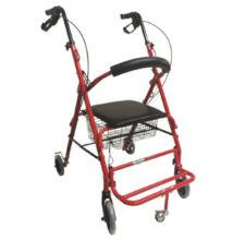 Két funkciós rollátor átállítható háttámasszal lábtartóval piros Mobiak