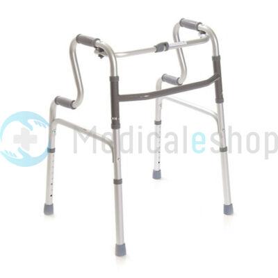 Lépcsőzetes felállást segítő állítható magasságú összecsukható járókeret 4 fogantyúval