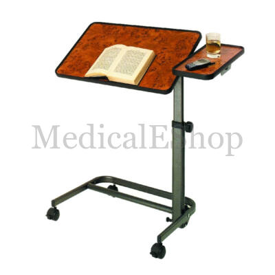 Állítható magasságú dönthető ágyasztal oldalsó kiegészítővel