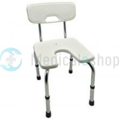 Tusoló szék higiéniai nyílással, háttámlával